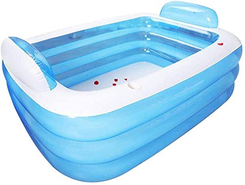 FFKL Inflatable Pool, Thickened Inflatable Pool, Three-Ring Inflatable Pool Paddling Pool, Family Pool backrest Bathtub Leisure Pool Children Summer Water Toys Baby Adults,180 140 60 cm