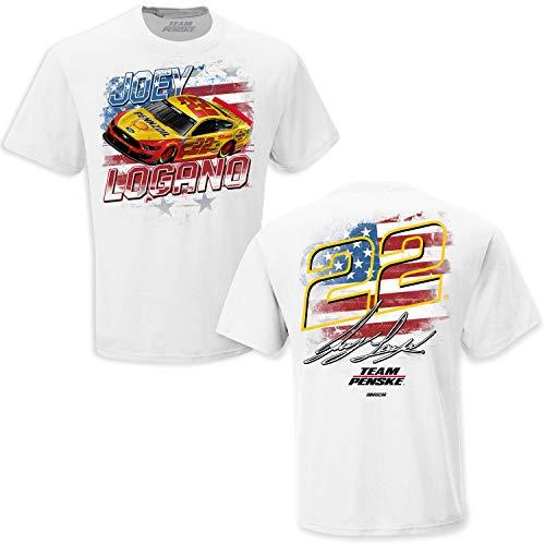 Checkered Flag Sports 2021 NASCAR Joey Logano Patriotic T-Shirt - USA Driver/Sponsor Short Sleeve Shirt Automotive Racing Apparel - White 2XL