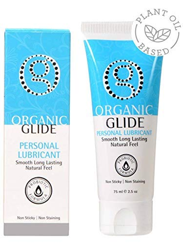 Organic Glide Natural Personal Lubricant, Probiotic Edible Formula Lube - for Men Women and Couples. Best Lube for Menopause and Sensitive Skin