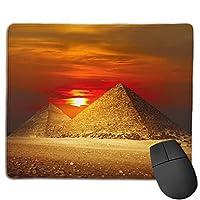 滑り止めマウスマット、Sunset Pyramid Egyptian Artマウスパッドデスクトップ、コンピューター、PC、ラップトップ、オフィスおよび家庭用にカスタマイズ30x25 cm /11.8x9.8インチ