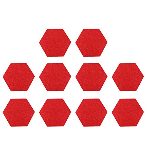 MILISTEN 10pcs Hexagon Felt Board Thickened Hexagon Tile Board Cork Board Adhesive Wall Bulletin Board DIY Message Board Backdrop for Pictures Notes Home Office (Red)