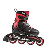 Rollerblade Microblade Boy's Adjustable Fitness Inline Skate, Black and Red, Junior, Youth Performance