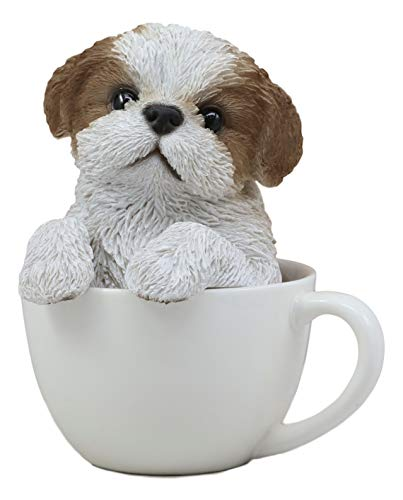 Ebros Realistic Adorable Shih Tzu Dog in Teacup Statue 5.75' Tall Pet Pal Tibet Lion Royal Canine Collectible Decor Figurine with Glass Eyes of Pedigree Dogs Pets Buddies Animal Collectibles and Gifts