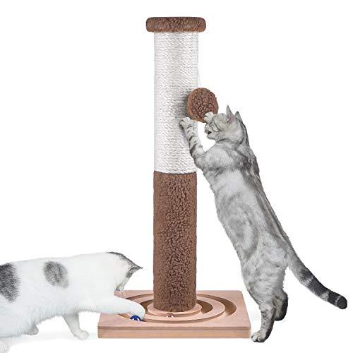 Aibuddy Tiragraffi per gatti, 60 cm di altezza in sisal, tiragraffi e asta per albero (giocattoli interattivi per gatti, palla penzolante, montaggio orientale, 30 x 30 x 60 cm)