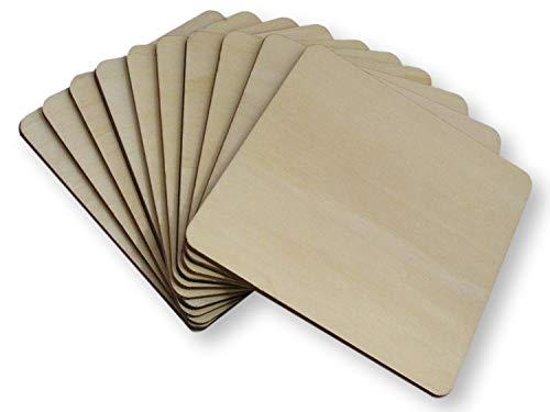 BrilliantBuys Quadratische Untersetzer aus Holz, quadratisch, 10 cm, 50 Stück