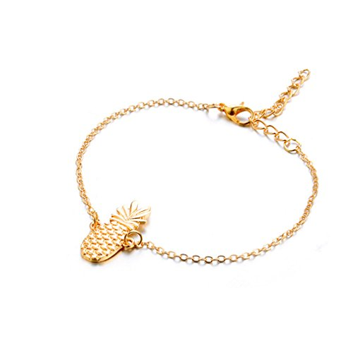 VWH Gold Anklet Hollow Three-Dimensional Pineapple Pendant Anklet Beach Foot Jewelry