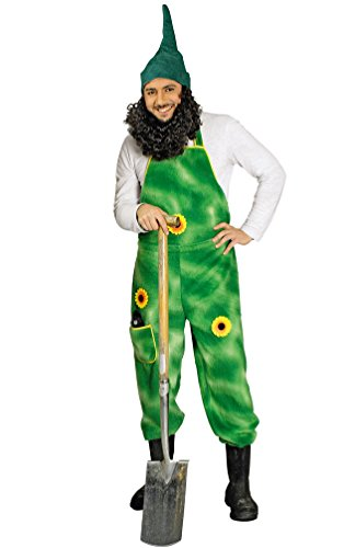 Karneval-Klamotten Gärtner-Kostüm Herren Plüsch-Latzhose grün mit Sonnenblumen Garten-Zwerg Größe 46/48