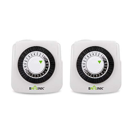 BN-LINK Indoor 24-Hour Mechanical Timer Outlet, 2 Prong, 2-Pack