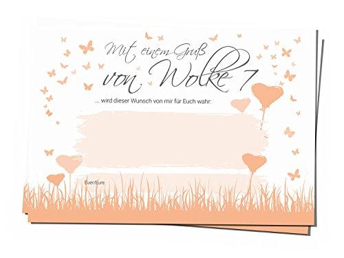 bigdaygraphix 50 Ballonflug-Karten Hochzeits-Karten Hochzeitsspiel extra leicht A6 Ballon Karten Herz Schmetterling Butterfly Heart apricot