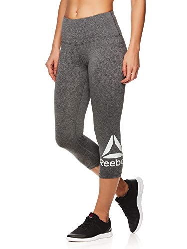 Reebok Women's Capri Leggings w/High-Rise Waist - Cropped Performance Compression Tights - Wanderlust Charcoal Heather, Large