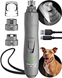 Dog Nail Grinder with LED Light, Rechargeable Dog Nail Grinder for Large Dogs, Medium & Small Dogs, Professional Pet Nail Grinder for Dogs Quiet Soft Puppy Grooming, Cat Nail Grinder, Dog Nail Trimmer
