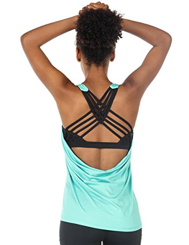 icyzone Damen Sport Tops mit Integriertem BH - 2 in 1 Yoga Gym Shirt Fitness Training Tanktop (S, Florida Keys)