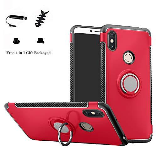 LFDZ Xiaomi Redmi S2 Hülle, 360 Rotation Verstellbarer Ring Grip Stand,Ultra Slim Fit TPU Schutzhülle für Xiaomi Redmi S2 / Redmi Y2 (mit 4in1 Geschenk Verpackt),Rot