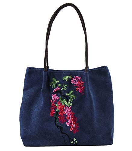 Damen-Handtasche mit Stickerei, Leinen, Vintage, chinesischer Ethno-Stil, bestickt, Blau (blau), Einheitsgröße
