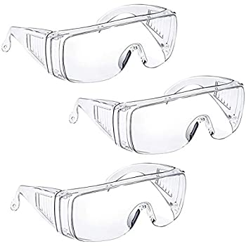 Anti Fog Safety Glasses & Goggles Over Eyeglasses for Women Men Safety Goggles Over Glasses Eye Protection Shooting Glasses Lab Protective Eyewear Goggles Anti Scratch UV Resistant Clear 3 Pack