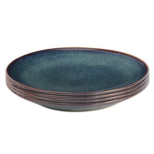 ProCook Vaasa Steinzeug - Brotteller - Steingut - 4-teilig - blau - Teller - Tafelservice - reaktive Glasur