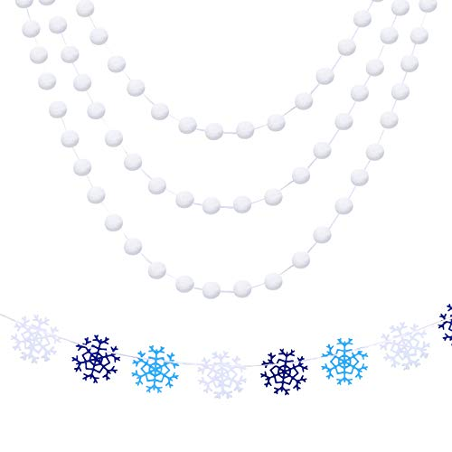 2 Pieces Christmas Winter Felt Banner Set Felt Ball Garland Holiday White Pom Pom Garland Snowflake Ball Banner for Winter Holiday Party Decoration