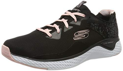Skechers Women's SOLAR FUSE Trainers, Black (Black Leather/Mesh/Pink Trim Bkpk), 7 (40 EU)