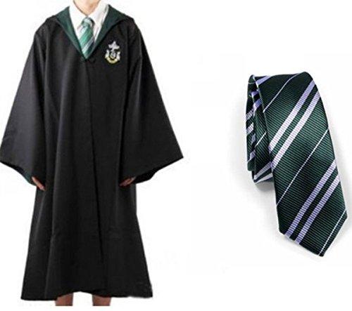 Harry Potter Slytherin School Fancy Robe Cloak Costume And Tie (Size XL)