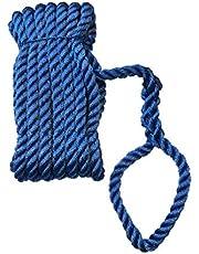 Green Home Cuerda de amarre con ojo, poliéster PES – Cuerda de amarre de color blanco y azul