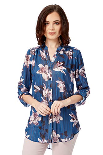 Roman Originals dames satijnen blouse met lelie patroon en strepen in blauw maat 38-48