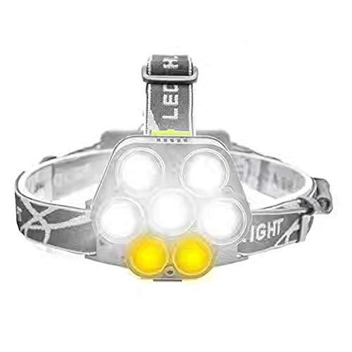 Gouden kroonluchter koplamp verstelbaar zeven LED nachtlicht klimmen Outdoor Camping koplamp dimmer schijnwerper zes versnellingsbak