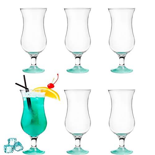 Platinux - Juego de copas de cóctel (6 unidades, 420ml) moderno Juego de 6 azul/turquesa