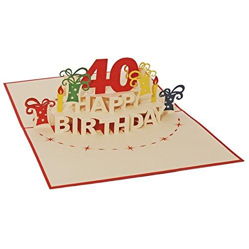 Favour Pop Up Glückwunschkarte zum runden 40. Geburtstag. Ein filigranes Kunstwerk, das sich beim Öffnen als Geburtstagstorte entfaltet. ALTA40R