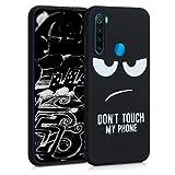 kwmobile Cover Compatibile con Xiaomi Redmi Note 8 (2019/2021) - Custodia in Silicone TPU - Back Case Cover Protezione Posteriore Cellulare - Don't Touch My Phone Bianco/Nero