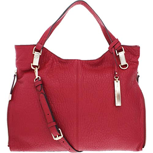 Vince Camuto Womens Eliza Pebbled Leather Tote Handbag Red Large