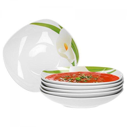 Van Well 6er Set Suppenteller Calla, Menü-Teller, 450 ml, Salatteller, Servierschale, weißer Blüten-Kelch, Pflanzendekor, edles Porzellan-Geschirr, Gastro