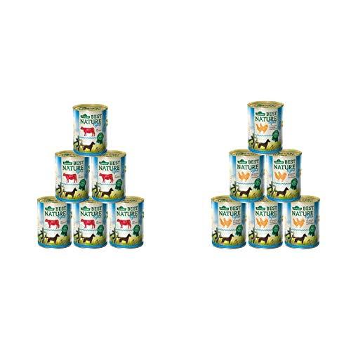 Dehner Best Nature Hundefutter Light Rind und Zucchini, 6 x 400 g (2.4 kg) & Best Nature Hundefutter Light Huhn und Karotten mit Distelöl, 6 x 400 g (2.4 kg)