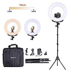 GEEKOTO Ringleuchte Licht Set: 18-Zoll / 48W LED Ringlicht für Smartphone und DSLR-Kameras, Dimmbare LED Ringlicht Kit mit Bi-Farbe 3300-5600K für YouTube Videoaufnahmen Make-up Selfie Porträt
