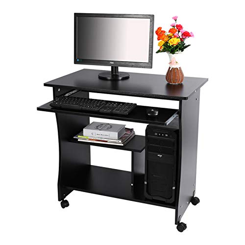 Escritorio de Madera para computadora, estación de Trabajo, Almacenamiento de Mesa para computadora portátil con Estante para Teclado para Oficina en casa