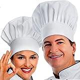 IPXEAD Chef Hat, 2PCS Adult Premium Adjustable Elastic Baker Kitchen Cooking Chef Cap White