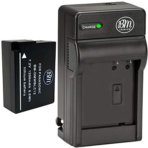 BM Premium High Capacity DMW-BLC12 Battery and Battery Charger for Panasonic Lumix DC-FZ1000 II DC-G95 DMC-G85 DMC-GH2 DMC-G5 DMC-G6K DMC-G7 DMC-GX8 DMC-FZ200 DMC-FZ300 DMC-FZ1000 DMC-FZ2500 Cameras