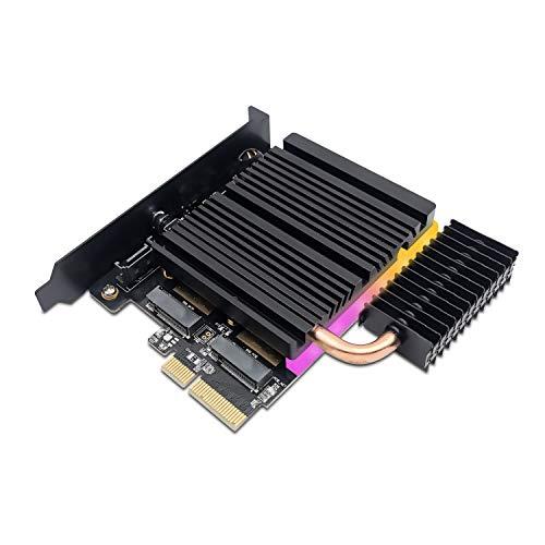 EZDIY-FAB 5V ARGB Dual M.2-Adapter für SATA und PCIE NVMe SSD mit Kupfer-Heatpipe-Kühlsystem, Unterstützung von NGFF-PCIe-SSD (M-Key), M2-SATA-SSD (B & M-Key) 2280 2260 2242 2230