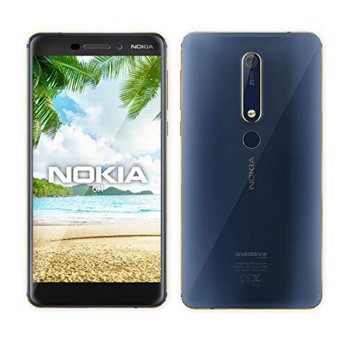 Nokia 6.1 (Nokia 6 2018) TA-1043, 64GB, 4GB RAM, Dual SIM, Unlocked - Blue/Gold