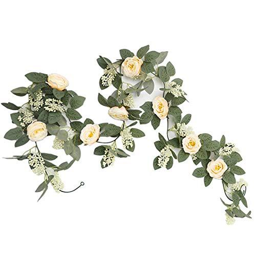 Yeemeen 1PZ 6.5FT Guirnalda de Rosas Artificiales Flores Colgantes Guirnalda Flores y Plantas Artificiales Colgante Flores para Decoración Jardín Boda Hotel Hogar Oficina Interior Extorior (Champán)