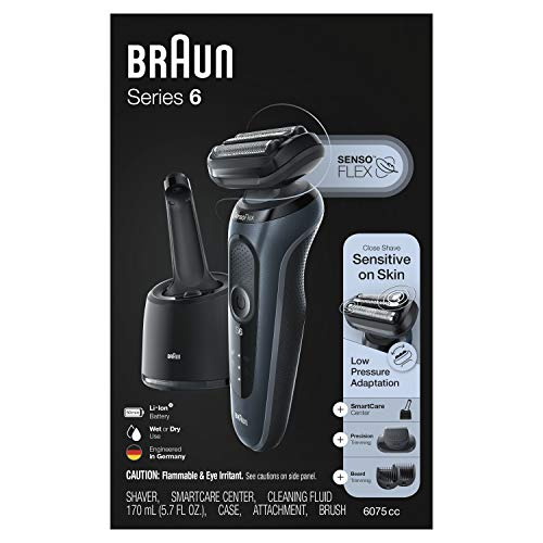 Braun Electric Razor for Men, Series 6 6075cc SensoFlex Electric Foil Shaver with Beard Trimmer, Rechargeable, Wet & Dry Foil Shaver with 4in1 SmartCare Center and Travel Case