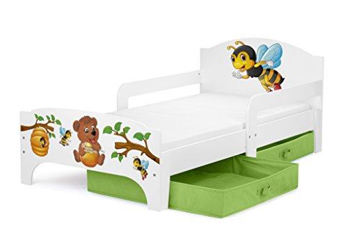 Leomark Smart letto per bambini in legno, lettino con cassetto cassettone e materasso 140x70cm, magnifiche stampe, mobili per bambini, attrezzatura stanza per bambino, tema: ORSACCHIOTO E API
