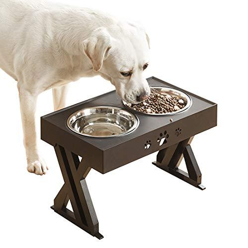 Idepet Raised Dog Bowl,Dog Bowls on Stands,Adjustable Height Dog Bowls with...