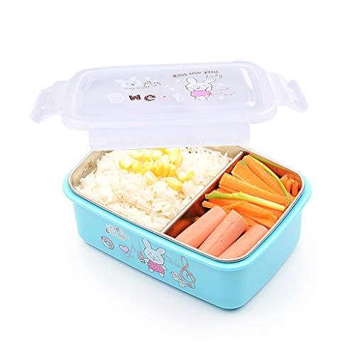 bento box,fiambreras para niños,Caja Bento de acero inoxidable - Fiambrera con 2 compartimentos - A prueba de fugas, apta para lavavajillas