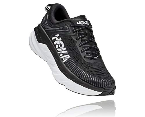 HOKA ONE ONE Women's Bondi 7 Running Shoe (Black/White, Numeric_10)