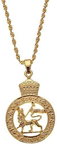 BACKZY MXJP Halskette Äthiopischer Löwe Gold Farbe Afrikanisch Arabisch Naher Osten Hochzeitsfeier Schmuck Mutter Mädchen Geschenke Halsketten Länge 50Cm