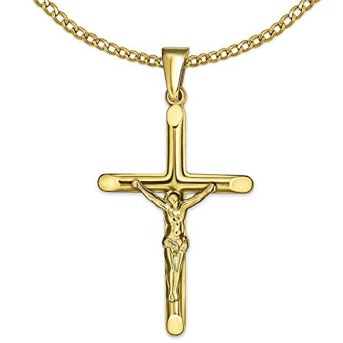 Clever Schmuck Set gouden dames heren hanger Jezus kruis 26 mm plastic vorm, smalle halfronde balken aan de uiteinden afgeplatte glanzend & ketting pantser 50 cm beider 333 goud 8 karaat