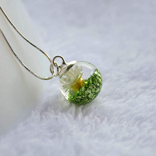 Daisy Real Flower Green Treasure Island Mineral Pendant 925 Sterling Silver Snake Chain Necklace