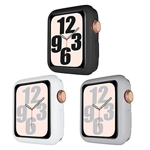 youmaofa Funda Compatible con Apple Watch Series 3/2/1 38mm, Flexible TPU A Prueba de Choques Parachoque Estuche Protector Cover para Apple Watch 38mm Series 3/2/1, Negro/Blanco/Gris