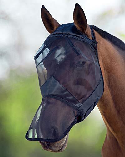 Harrison Howard CareMaster Maschera Anti-Mosche per Cavallo UV Protezione con para Naso Nero (M; COB)
