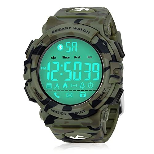 Beeasy Herren Digital Sportuhr, Schrittzähler Kalorien Armbanduhr Wasserdicht Männer Militär Outdoor Fitness Tracker mit Stoppuhr Alarm Bluetooth Anruf APP Benachrichtigung für iOS Android